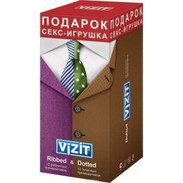VIZIT Набор презервативов Ribbed 12 шт + Dotte 12 шт + ПОДАРОК: Секс-игрушка