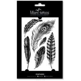 Miami Tattoos Переводные тату Feathers, 1 лист, 10 см х 15 см