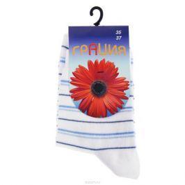 Носки женские Грация, цвет: белый, голубой. М 1004-1-АВ. Размер 35/37