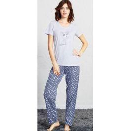 Домашний комплект женский Vienetta's Secret Котик: футболка, брюки, цвет: серый меланж. 705029 1069. Размер XL (50)
