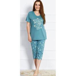 Домашний комплект женский Vienetta's Secret: футболка, капри, цвет: серо-зеленый. 703078 3368. Размер 3XL (54)