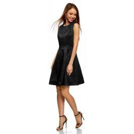 Платье oodji Ultra, цвет: черный. 12C02004/38560/2900J. Размер 36-170 (42-170)