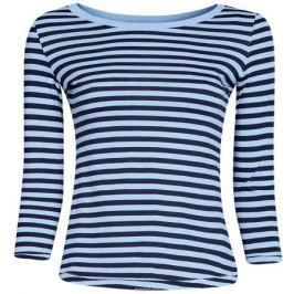 Лонгслив женский oodji Ultra, цвет: голубой, темно-синий. 14201005B/46158/7079S. Размер XL (50)