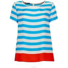 Блузка женская oodji Collection, цвет: синий, белый, красный. 21412114/15014/7545S. Размер 36-164 (42-164)