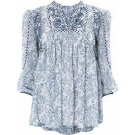 Блузка женская oodji Ultra, цвет: белый, темно-синий. 11400440/17358/1073E. Размер 38-170 (44-170)