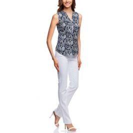 Блузка женская oodji Collection, цвет: темно-синий, белый. 21400388-3/35542/7912E. Размер 44-170 (50-170)
