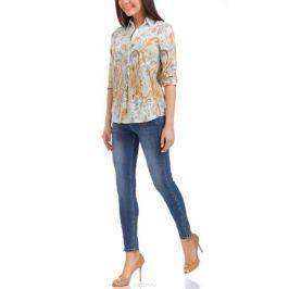 Блузка женская oodji Collection, цвет: голубой, горчичный. 21411144-2/12836/7057E. Размер 44-170 (50-170)