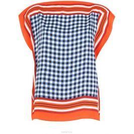 Блузка женская oodji Collection, цвет: оранжевый, синий. 21400373/24446/5575C. Размер 40-170 (46-170)