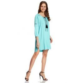 Платье oodji Collection, цвет: бирюзовый. 21914003/33471/7300N. Размер 42-170 (48-170)
