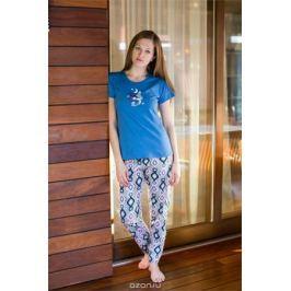 Комплект домашний женский Vienetta's Secret: футболка, брюки, цвет: синий, серый. 509092 5161. Размер XL (50)