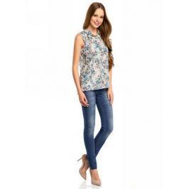 Блузка женская oodji Collection, цвет: белый, синий. 21412127-1M/12836/1275E. Размер 42-170 (48-170)