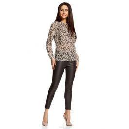 Блуза женская oodji Ultra, цвет: бежевый, терракотовый. 11401260/38375/3331A. Размер 34-170 (40-170)