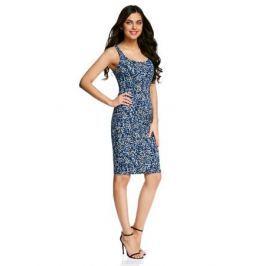 Платье oodji Ultra, цвет: синий, белый. 14015007-3B/37809/7512F. Размер XL (50-170)