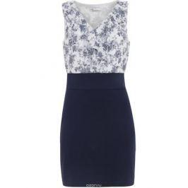 Платье oodji Ultra, цвет: синий, белый. 14005124/42376/7910F. Размер XXS (40)