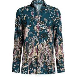 Блузка женская oodji Collection, цвет: морская волна, темный хаки. 21411144-4/26346/6C68E. Размер 40 (46-170)