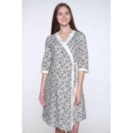 Комплект одежды для беременных и кормящих Hunny Mammy: халат, сорочка ночная, цвет: молочный, коричневый. 1-НМК 08520. Размер 50
