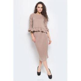 Комплект женский Lautus: джемпер, юбка, цвет: бежевый, черный. к520. Размер 54