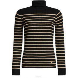 Водолазка женская oodji Collection, цвет: черный, бежевый. 74412573/46531/2935S. Размер XS (42)