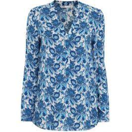 Блузка женская oodji Collection, цвет: белый, синий. 21412143/42127/1075E. Размер 38 (44-170)