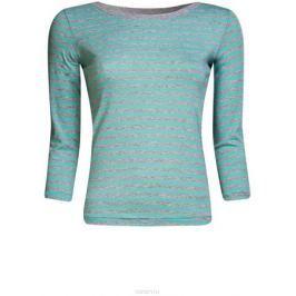 Лонгслив женский oodji Ultra, цвет: бирюзовый, светло-серый. 14201005B/46158/7320S. Размер S (44)