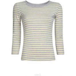 Лонгслив женский oodji Ultra, цвет: светло-желтый, светло-серый. 14201005B/46158/5020S. Размер L (48)
