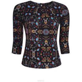 Блузка женская oodji Collection, цвет: черный, оранжевый. 24201012/26256/2955E. Размер XL (50)