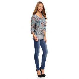 Блузка женская oodji Collection, цвет: бирюзовый, терракотовый. 21401246-2/17358/7331E. Размер 40 (46-170)