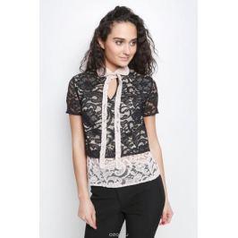 Блузка женская La Via Estelar, цвет: черный, бежевый. 32838. Размер 48