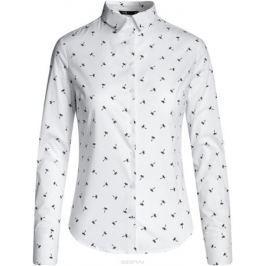 Блузка женская oodji Ultra, цвет: белый, темно-синий. 11403227B/14885/1079Q. Размер 44-170 (50-170)