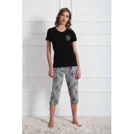 Комплект домашний женский Vienetta's Secret: футболка, капри, цвет: черный, серый. 609144 0721. Размер M (46)