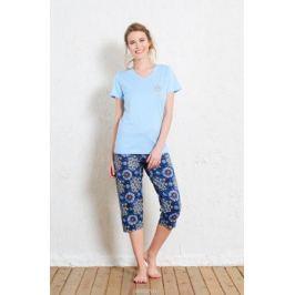 Комплект домашний женский Vienetta's Secret: футболка, капри, цвет: голубой, синий. 511075 5218. Размер XL (50)