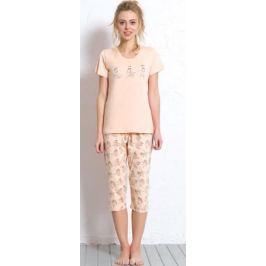 Комплект домашний женский Vienetta's Secret: футболка, капри, цвет: персиковый. 608050 0324. Размер XL (50)