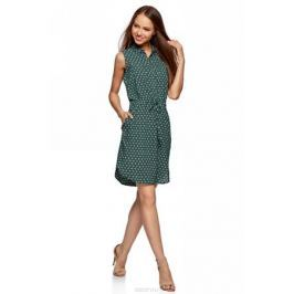 Платье oodji Ultra, цвет: темно-изумрудный, белый. 11901147-2/24681/6E12G. Размер 40-170 (46-170)