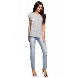 Блузка женская oodji Collection, цвет: белый, черный. 21412132-2B/24681/1229G. Размер 42-170 (48-170)