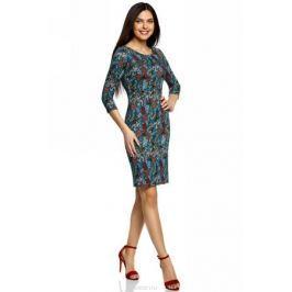 Платье oodji Collection, цвет: темно-изумрудный, терракотовый. 24001070-5B/15640/6E31F. Размер M (46)