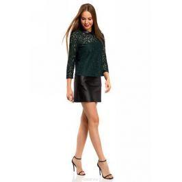 Блузка женская oodji Collection, цвет: темно-зеленый. 21411092/43582/6900N. Размер 42-170 (48-170)