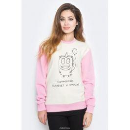Свитшот женский Kawaii Factory Единорожек вырастет, цвет: белый, розовый. KW176-000006. Размер XS (40/42)