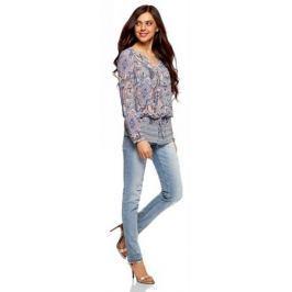 Блузка женская oodji Collection, цвет: карамель, синий. 21401246-2/17358/4B75E. Размер 40-170 (46-170)