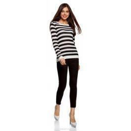 Джемпер женский oodji Ultra, цвет: черный, кремовый. 63805287/46014/2930S. Размер XXL (52)
