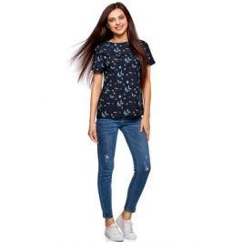 Блузка женская oodji Collection, цвет: темно-синий. 21411122/26546/7910O. Размер 36-170 (42-170)