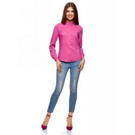 Блузка женская oodji Ultra, цвет: фуксия. 11411136B/26346/4700N. Размер 44 (50-170)