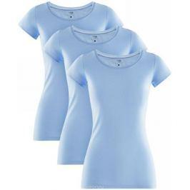 Футболка женская oodji Ultra, цвет: голубой, 3 шт. 14701005T3/46147/7000N. Размер XL (50)