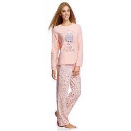 Джемпер женский oodji Ultra, цвет: светло-розовый, светло-серый. 59811012-1/24336/4020P. Размер M (46)