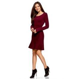 Платье oodji Ultra, цвет: бордовый. 63912223/46096/4900N. Размер XL (50)