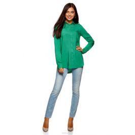 Блузка женская oodji Ultra, цвет: изумрудный. 11400355-3B/26346/6D00N. Размер 34 (40-170)