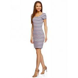 Платье oodji Collection, цвет: темно-синий, светло-розовый. 24001082-2B/47420/7940S. Размер M (46)