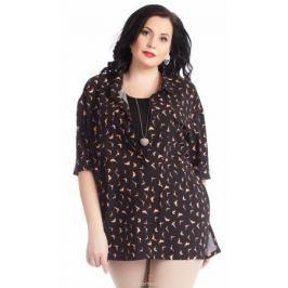 Блузка женская Averi, цвет: черный, бежевый. 1267. Размер 64 (68)