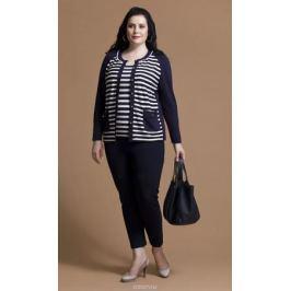 Комплект одежды женский Averi: жакет, топ, цвет: синий, белый. 1198. Размер 62 (66)