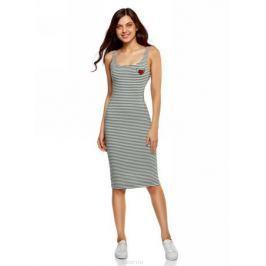 Платье oodji Ultra, цвет: хаки, белый. 14015007-7/47420/6612S. Размер XS (42)