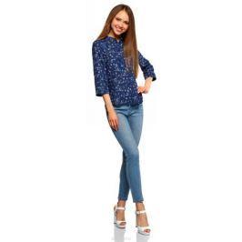 Блузка женская oodji Ultra, цвет: темно-синий, красный. 11403225-1B/45227/7945F. Размер 38 (44-170)